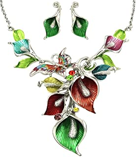 DianaL Boutique Silver Tone Rhodium Plated Amazing Floral Pink Purple Green Blue Butterfly Orchid Flowers Necklace and Earrings Set Gift Boxed Fashion Jewelry YNE2714-MT