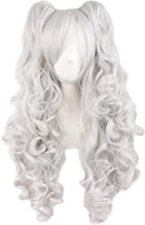 TSNOMORE Long Curly Lolita Cosplay Wig + 2 Clip on Pigtail Ponytail wig (White)