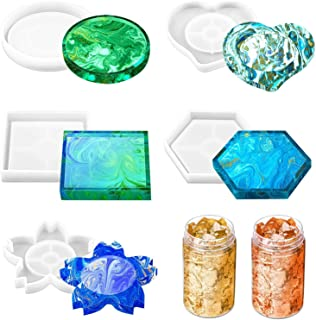 Resin Coaster Molds for Resin Casting, Shynek 5 Pack Resin Molds Silicone Epoxy Casting Molds with Gold Foil Flakes for Re...