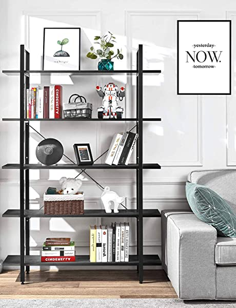 ORAF Bookshelf 5 Tier Bookcase Industrial Bookshelf Vintage Industrial Style Bookcase Black