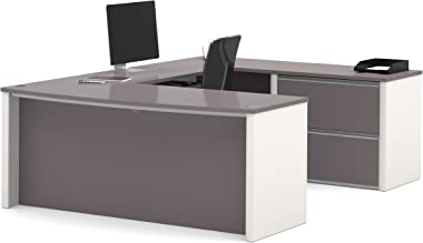 Bestar Connexion U-Shaped Workstation with Two Drawers, Slate/Sandstone