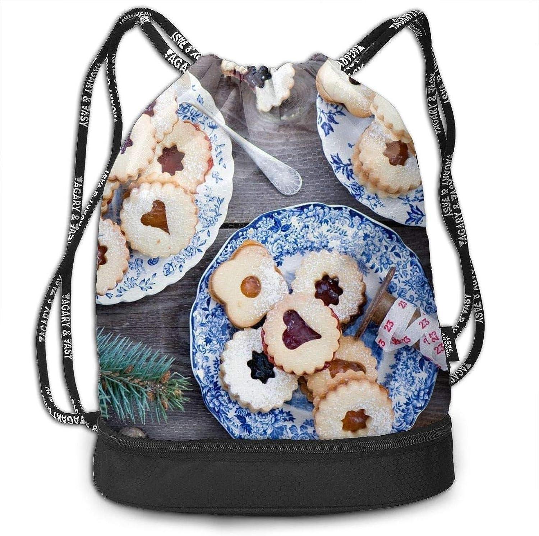 Gymsack Biscuits Pine Cones Christmas Print Drawstring Bags  Simple Bundle Pocket Backpack