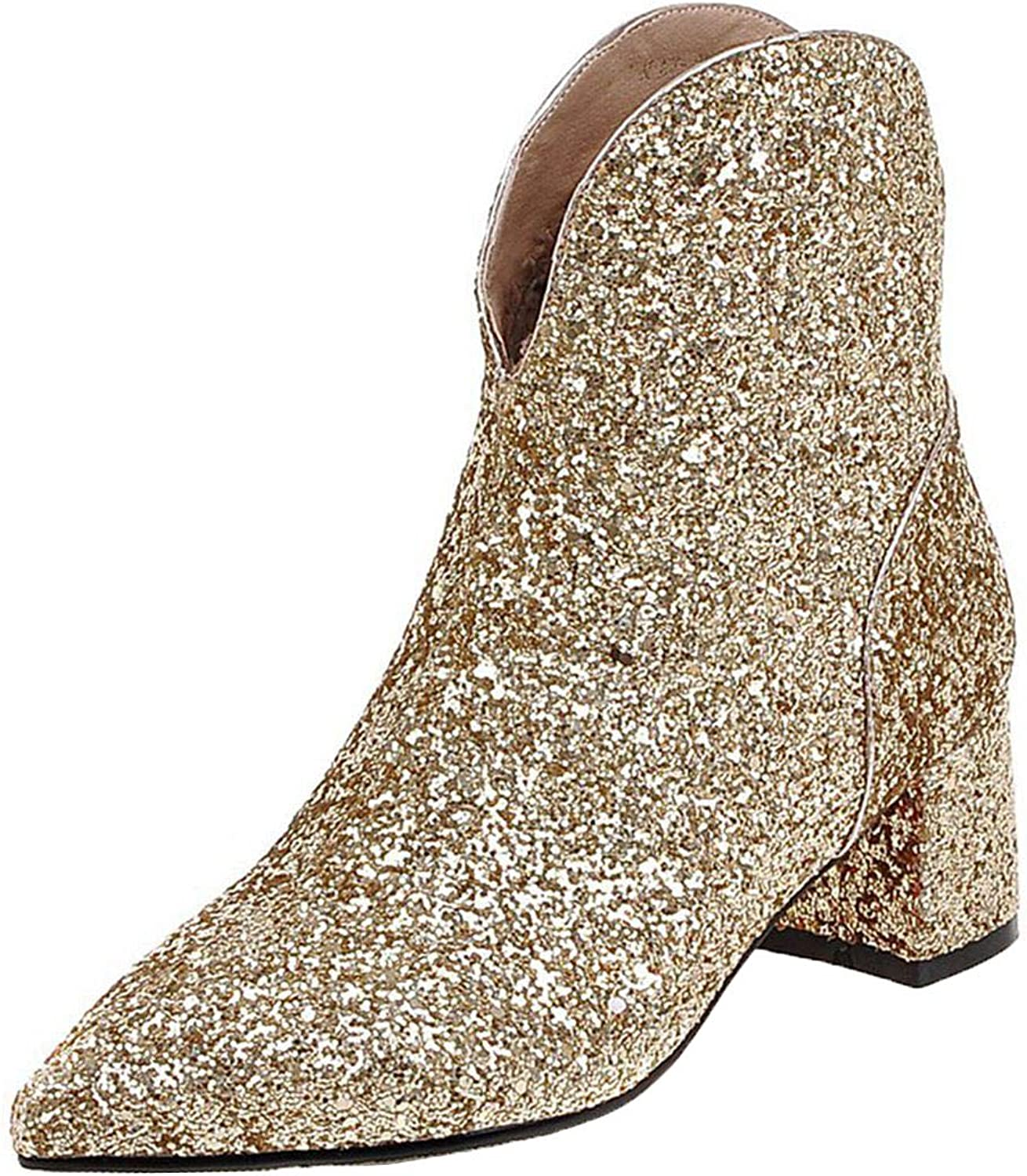 Vitalo Womens Sparkly Glitter Cowboy Mid Block Heel Ankle Boots Charming Dress Booties