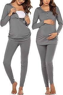 Women's Button Down Nursing Thermal Underwear Maternity...
