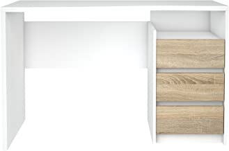 TVILUM 8012349ak Walker 3 Drawer Desk, White/Oak Structure