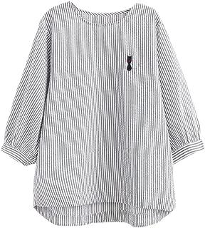 Women's Stripes Blouses Cotton Hi-Low Hem Top Cute Cat Shirts