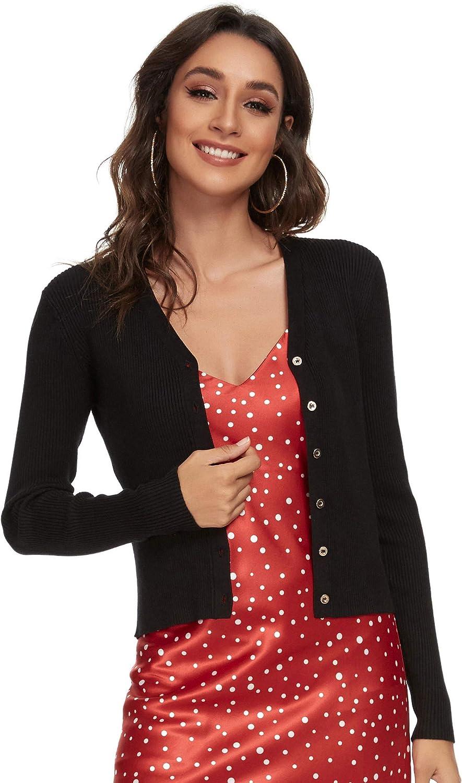 ALCEA ROSEA Womens Long Sleeve V Neck Knitwear Button Down Soft Cropped Cardigan Sweater S-XL. (Black,M)