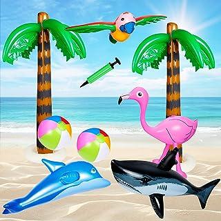 Czemo 9 PCS Palme Gonfiabili Giocattoli Flamingo Gonfiabile Beach Balls Flying Pappagallo Delfino per la Decorazione Decor...