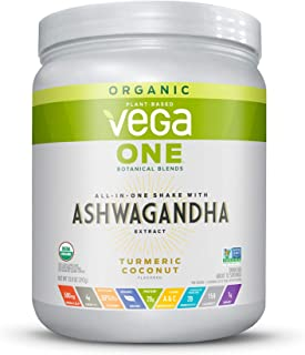 Vega One Organic Botanical Blends, Turmeric Coconut with Ashwangandha, Plant Based Protein Powder with Adaptogens- Vegan Certified, Vegetarian, Gluten Free, Dairy Free, Non GMO (10 Servings, 12.7 Oz)