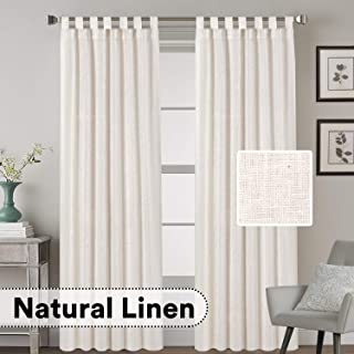 H.VERSAILTEX Tab Top Natural Linen Blended Airy Curtains for Living Room Home Decor Soft Rich Material Light Reducing Bedroom Drape Panels, Set of 2, 52 x 84 -Inch - Natural Pattern