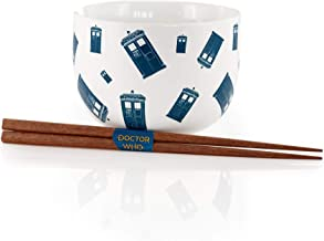 Doctor Who Tardis Noodle Bowl & Chopsticks Set | Collectible Ceramic Doctor Who Dish Set | Features Police Box Tardis Graphic Prints