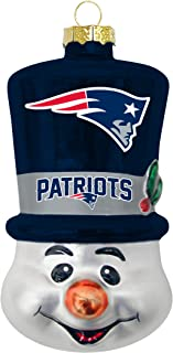 New England Patriots Blown Glass Top Hat Snowman Ornament