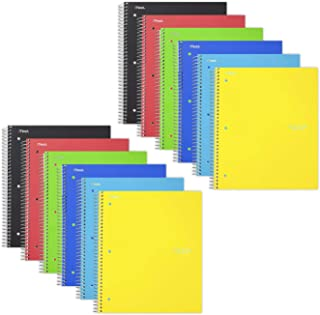 """Five Star Spiral Notebooks, 1 Subject, Graph Ruled Paper, 100 Sheets, 11"""" x 8-1/2"""", Assorted Colors, 12 Pack (38630)"""