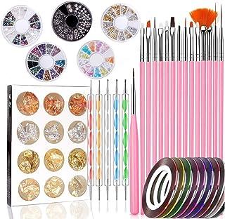 Kit de Diseño de Arte de Uña 47 piezas Decoración Uñas Nail Art 15 Pincel Uñas 5 Lápiz de Punto 10 Cintas Adhesivas Uñas 5...