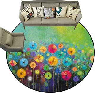 Flower,Carpet Flooring Dandelions Featured in Garden with Brushstrokes Watercolored Abstract Landscape Art D66 Soft Area Rug for Children Baby