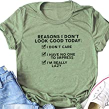 ZLQ I Don't Care I'm Really Lazy Tee, Women`s Short Sleeve Graphic Letters T-Shirt, Summer Casual Shirts