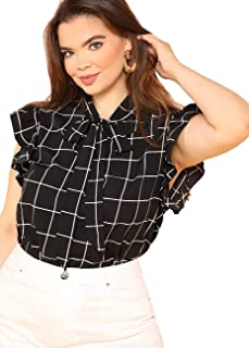 Women's Plus Size Bow Tie Neck Short Sleeve Casual Wear to Work Blouse Tops