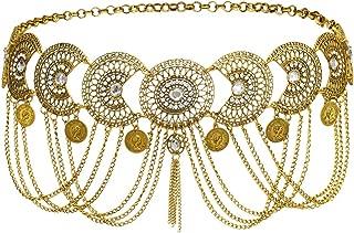 idealway Vintage Waist Chain Hollow Carving Rhinestone Crystal Body Chain Summer Beach Body Waist Chain Jewelry