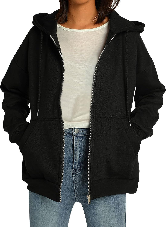 Women 's Oversized Full Zip Drawstring Hoodies Sweatshirts Long Sleeve Y2K E-Girl Pullover Jackets with Pockets