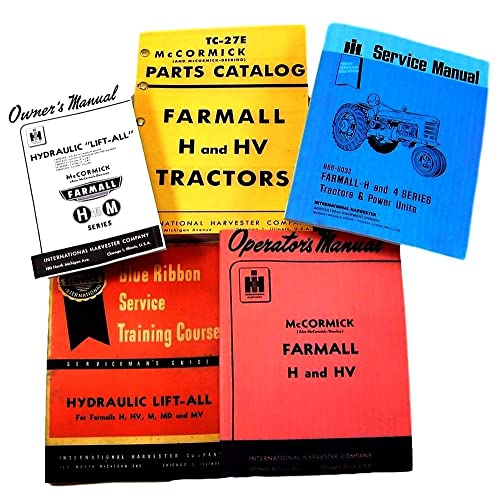 farmall h hv tractor service, parts and operators manuals for chassis,  engine, hydraulics