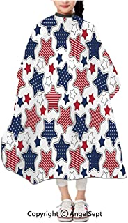 Children Patterned Hair Cut Apron Online,Big Star Figures with American Flag Featured Inner Lines Proud Country Indigo Red White,47.2×39.4 inches,Waterproof Hairdresser Dressing Salon
