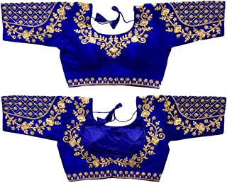 Ethnic Shop Full Stitch Readymade Women'Banglory Silk Designer Blouse 764 Royal Blue