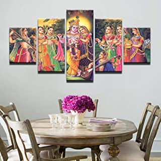PEACOCK JEWELS Premium Quality Canvas Printed Wall Art Poster 5 Pieces / 5 Panels Wall Decor Lord Krishna Painting, Home D...