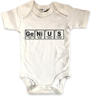 net-shirts Organic Baby Body aus Bio-Baumwolle mit Genius Aufdruck Strampler Statement Chemie Periodensystem Chemische Elemente Sheldon