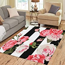 Semtomn Area Rug 5' X 7' Colorful Peony and Roses Black White Stripes Flowered Pink Home Decor Collection Floor Rugs Carpet for Living Room Bedroom Dining Room