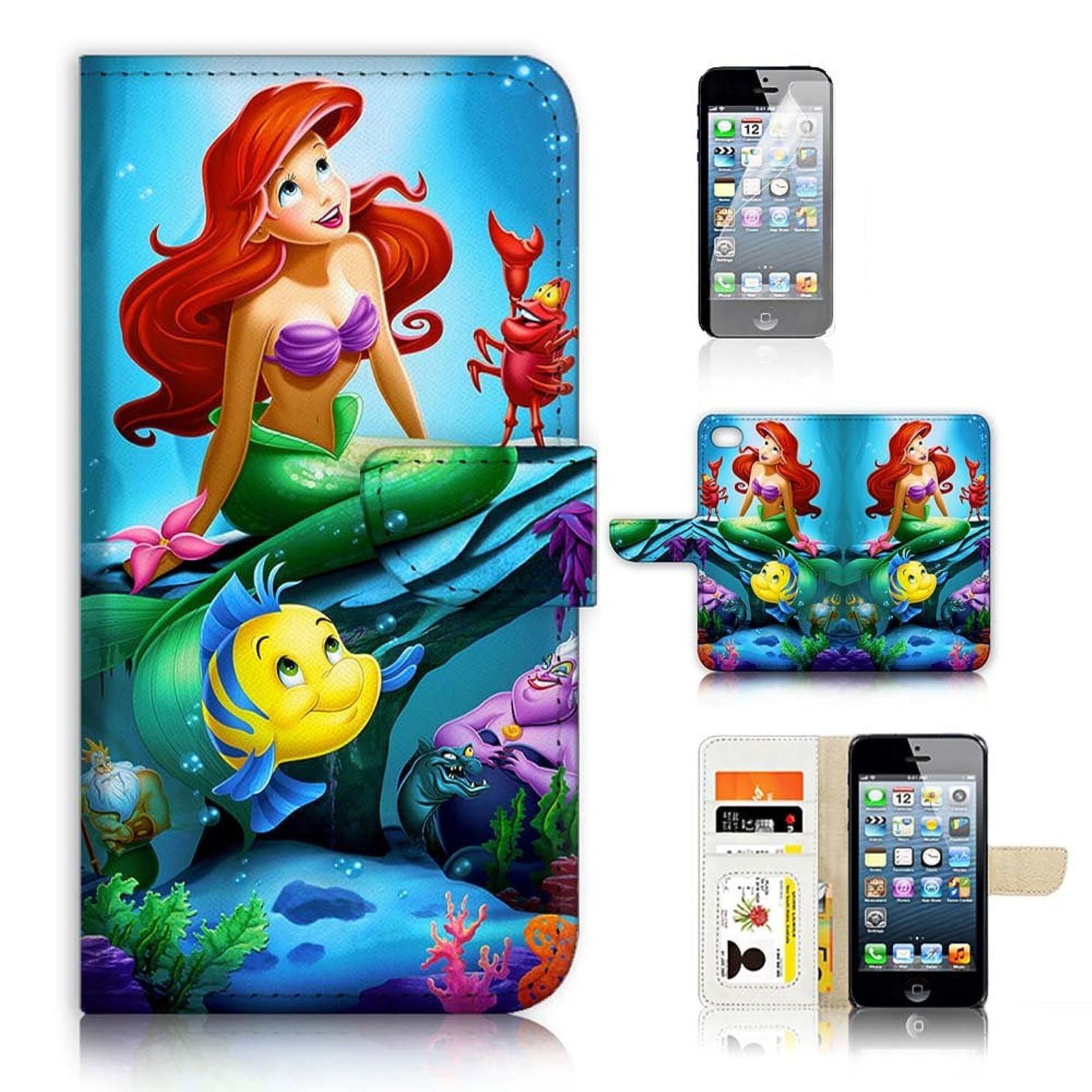 拒否増幅するまで(iPhone 8 / iPhone 7用)フリップウォレットケースカバー&スクリーンプロテクターバンドル - UKA21075アリエルリトルマーメイド