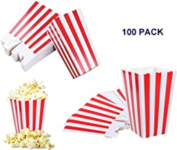 SOHAPY 100 pack 12oz Popcorn Candy Favor Boxes Containers Cup Treat Boxes for Movie Nights Carnival Parties Birthday Bridal and Baby Shower Popcorn Party Supplies Classic Red and White Stripes (red and white)