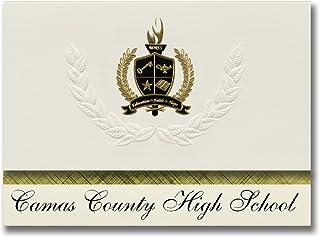 Signature Announcements Camas County High School School School (Fairfield, ID) Abschlussankündigungen, Präsidential-Stil, Grundpaket mit 25 Goldfarbenen und schwarzen metallischen Folienversiegelungen B0795SSB7Q  Sport d008bb