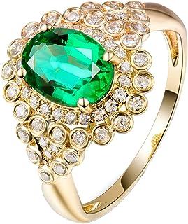 Daesar Anelli Donna Fidanzamento Oro Giallo 18K, Fiore di Lusso 1.28ct Smeraldo Ovale con Diamante 0.63ct Anelli Oro Matri...