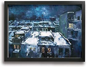 HAINANBOY Cityscape of Jeremy Mann Abstract Painting Canvas Painting Stretched and Framed Paintings Hanging for Dinning Room 16x12inches
