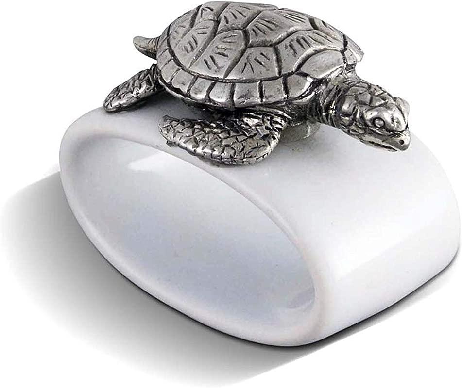 Vagabond House Sea Turtle Stoneware Napkin Ring 2 Tall Sold As Single Ring Artisan Crafted Designer Ring