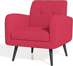 JustRoomy Mid-Century Modern Accent Chair Fabric Armchair Living Room Chair Comfy Leisure Lounge Chair Bedroom Office Single Sofa Side Chair with Removable Seat Cushion, Red