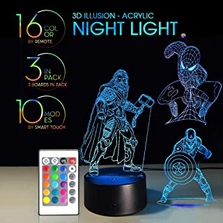 3 in 1 3D Night Light Remote Control with 7 Colors Display Optical Illusion Nursery Lamp Birthday Gift X'Mas Creative Lights Touch Button