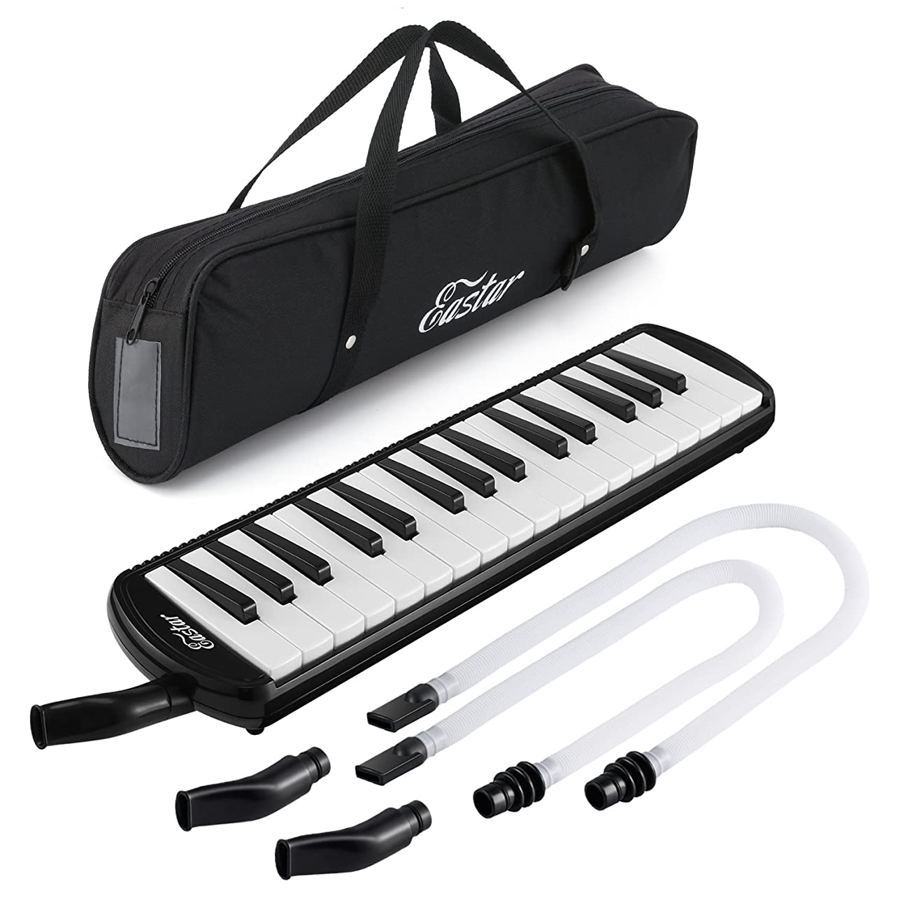 唇耕すバランスEastar ピアニカ 32鍵 鍵盤 ハーモニカ pianica ホース+唄口セット (ブラック)