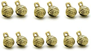 12 Pcs Polished Brass Bells for Door Knob, For Craft work, Anniversary, Cattle, Party Favors Wall Art Orchard Garden Art (1.25 inches High, Polished Brass)