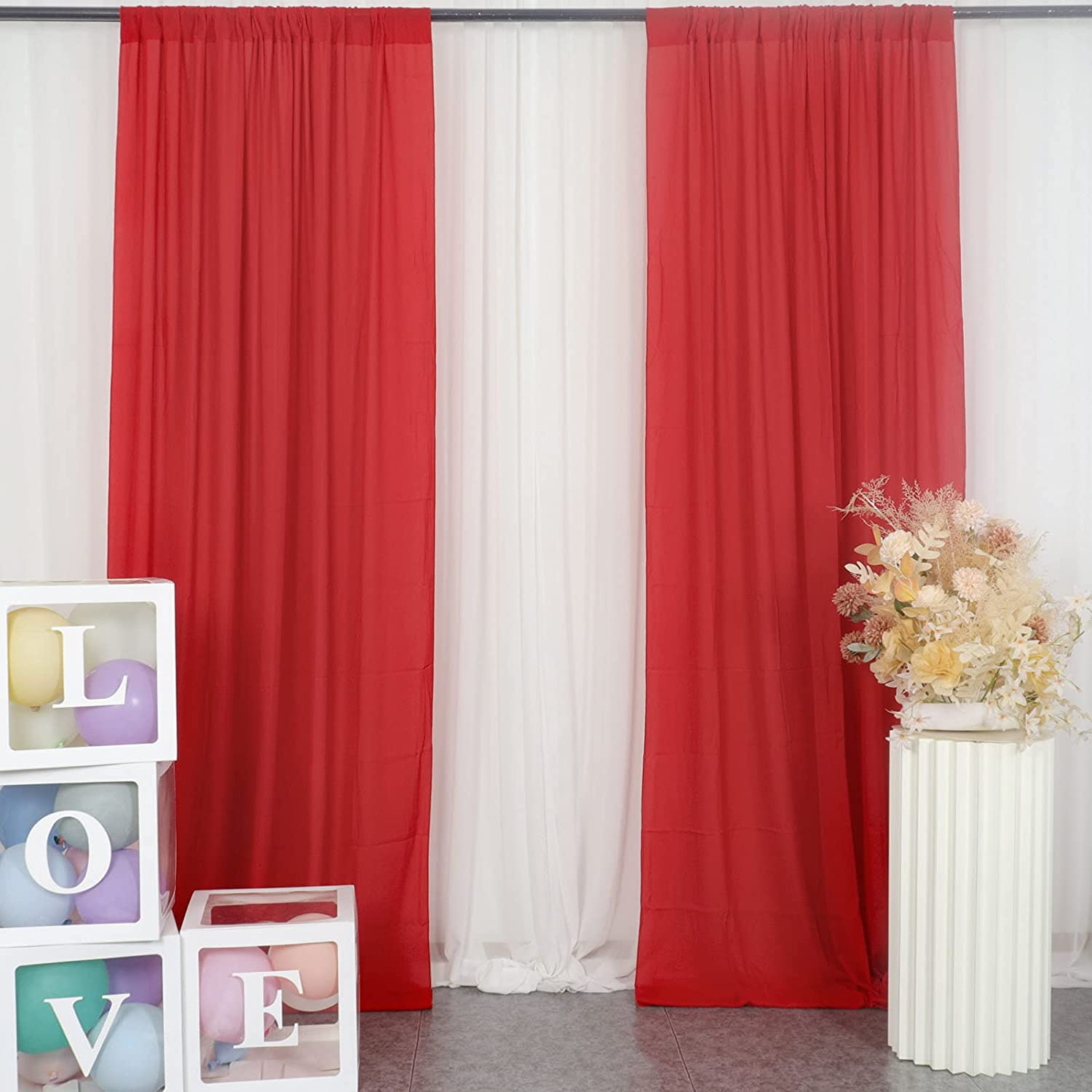 Sale Max 75% OFF SALE% OFF Red Chiffon Backdrop Curtain-2 Panels Chiffo Wedding 29x120-Inch
