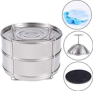 KINDEN Pressure Cooker Accessories Stackable Stainless Steel Insert Pans, Vegetable Basket, Silicone Egg Bites Molds, Silicone Pot Holder, 4 pcs/set for 5,6,8QT