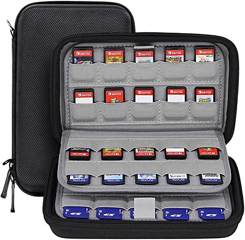 Sisma 80 Games Holder Cartridges Storage Case for Nintendo Switch PS Vita Physical Games and SD Cards, Black