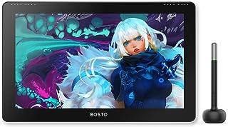 BOSTO 液タブ 液晶ペンタブレット 15.6インチ フルラミネートディスプレイ 充電不要ペン 傾き検知機能 アンチグレアスクリーン付き筆圧8192 Adobe RGBカバー率75% アンチグレアスクリーン付き 初心者に適用 オンライン授業 ...