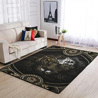 OwlOwlfan Grand tapis mécanique Lion pour chambre à coucher, canapé, salon, chambre d'enfant, chambre de bébé, blanc 122 x...