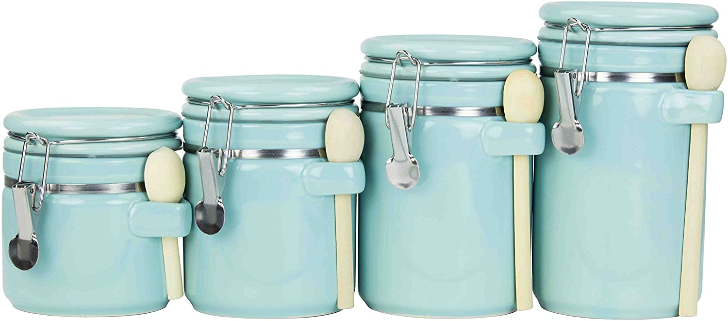 Home Large-scale sale Basics 4PC Ceramic Canister W Set Turquoise Spoon Mesa Mall