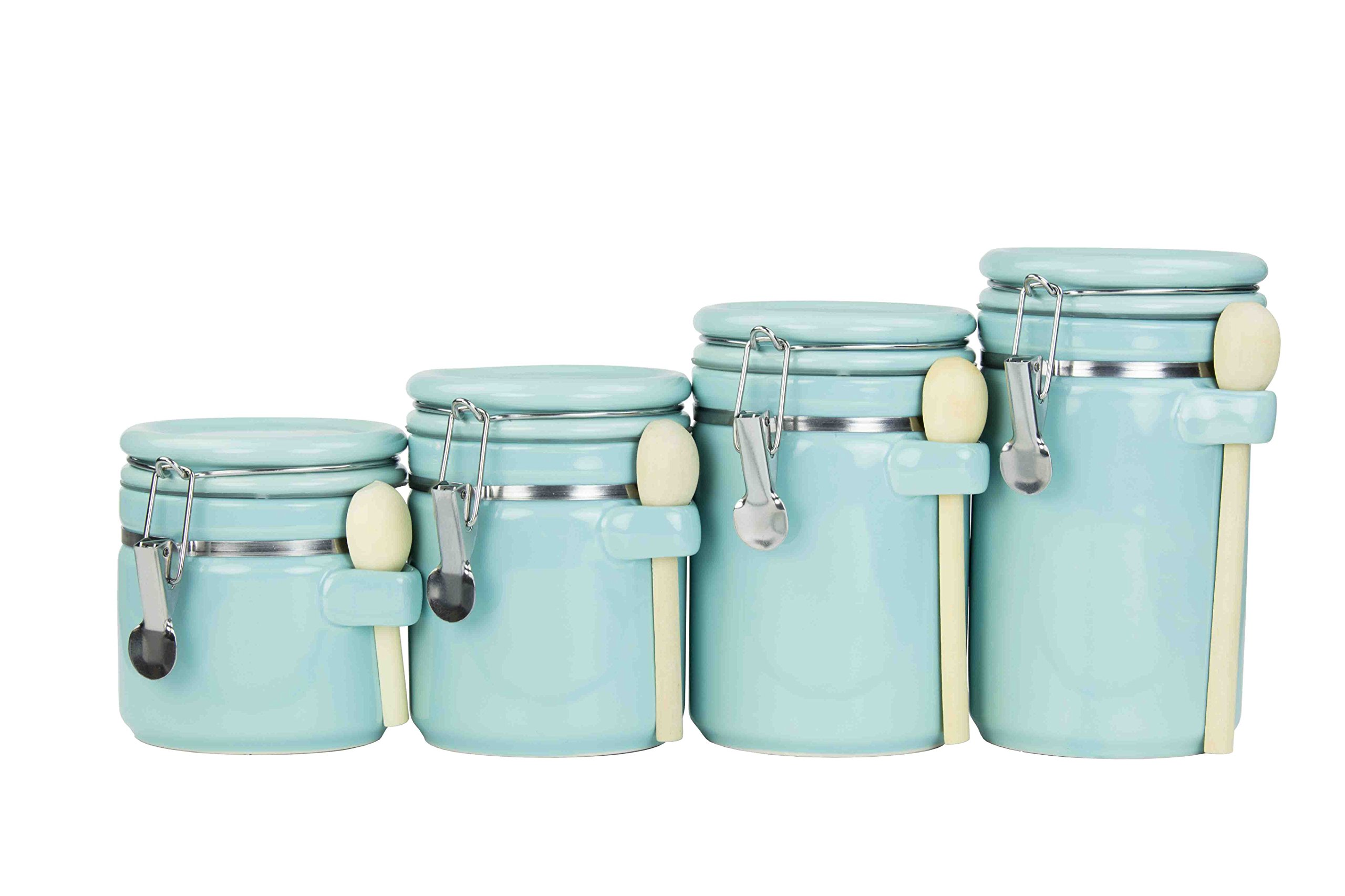 ceramic kitchen canister sets amazon com rh amazon com Turquoise Kitchen Canister Set Canister Sets for Kitchen Counter
