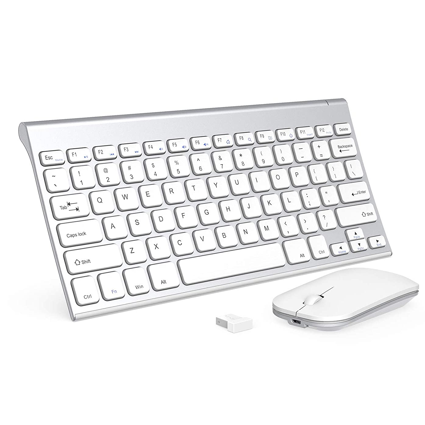 Wireless Keyboard and Mouse Combo, Seenda Ultra Small Compact Rechargeable Wireless Keyboard with Long Battery Life, Silent Mouse Clicking for PC Laptop Computer Windows-Silver and White