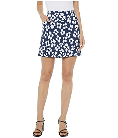 Elliott Lauren Water Lily Two-Pocket Jacquard Skort with Side Slits (Navy/White) Women