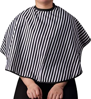 Professional Striped Short Length Salon Cutting Cape, Salon Styling Cape Barbers with Loop Closure, Hair Salon Cutting Cap...