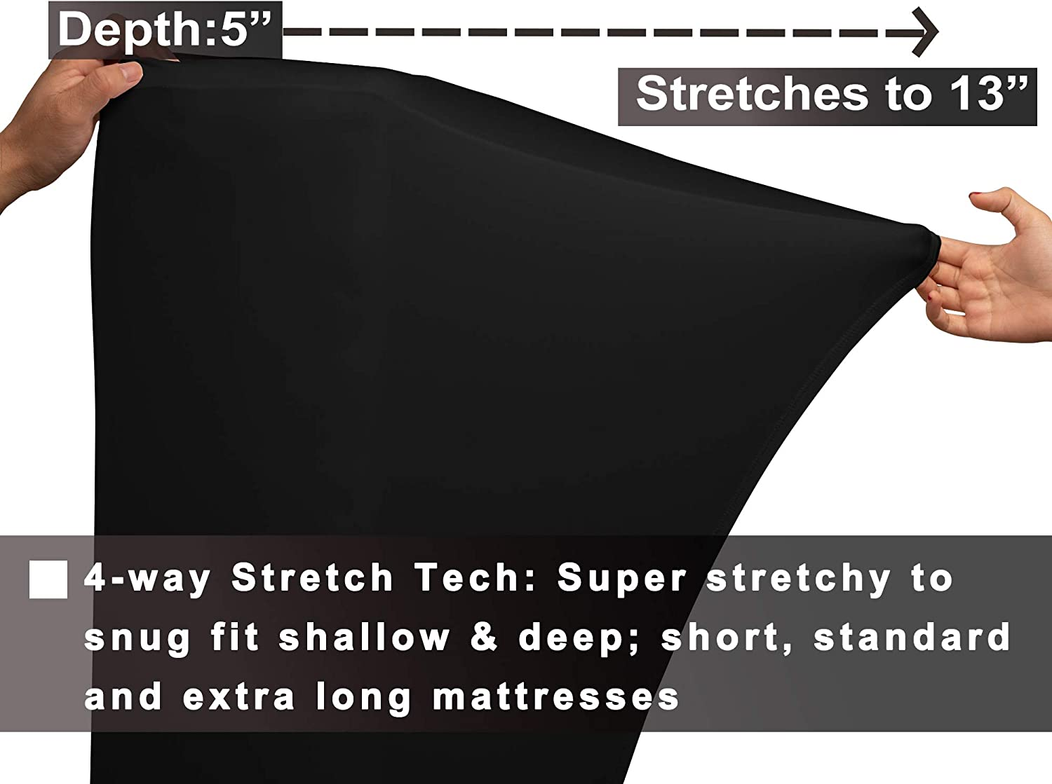 Barossa Design Twin Fitted Sheet Only: 4 Way Stretch Fit /& Soft T-Shirt Like Jersey Knit Twin Black Cooling Sheets for Night Sweats